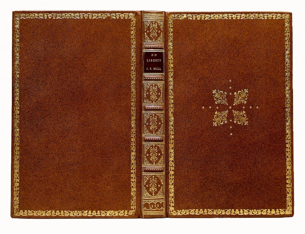 On Liberty by J. S. Mill in a 19th century British style binding of sprinkled calf and full gilt