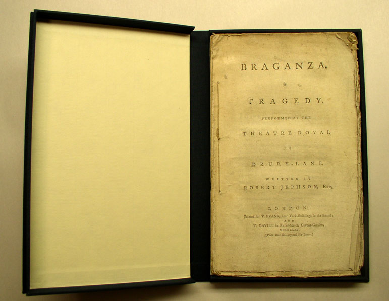 A drop spine box made to house the unbound copy of Braganza.