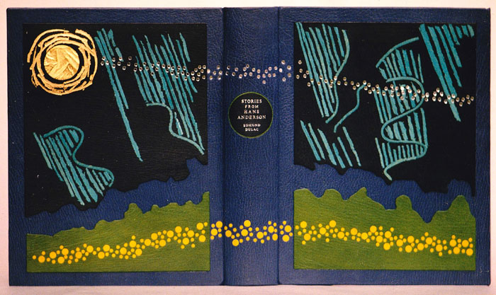 This design binding was created for the Edmund Dulac illustrated edition of Stories from Hans Anderson using manipulated onlays of goat with gold leaf on sculpted boards for presentation copy with an autograph sketch by the illustrator.
