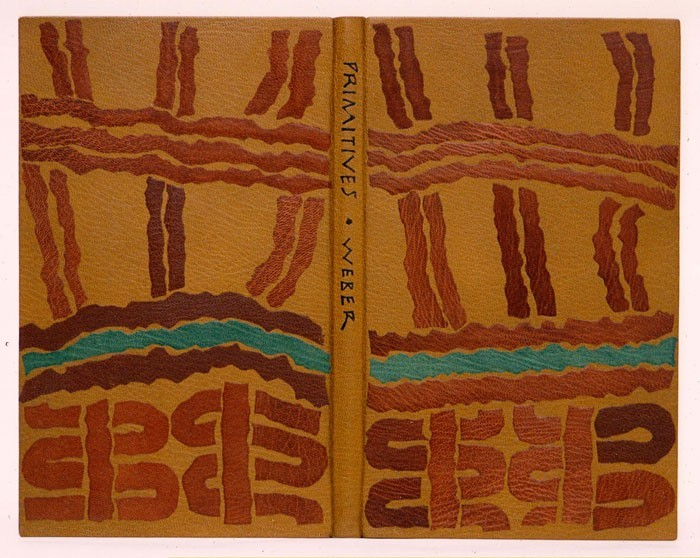 A design binding for Max Weber's Primitives, a book of his woodcuts and poems. The design is based upon African body painting.