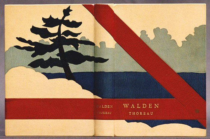Walden by Henry David Thoreau, illustrated by photographs of Edward Steichen. The design binding illustrates the pond and features a white pine tree and a detail of the timber frame for his cabin that Thoreau constructed using the pine growing nearby. I re-read this again, many years ago, while I, too, was building my first house from white pine growing on the land where we were to live.