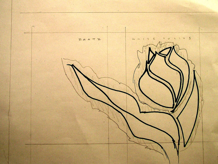 The original design sketch for White Tulips using pencil and marker