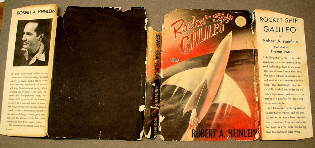 An unrestored dust jacket for Rocket Ship Galileo with numerous losses.