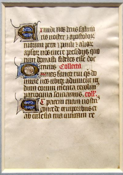 Medieveal manuscript leaf with illuminated letters