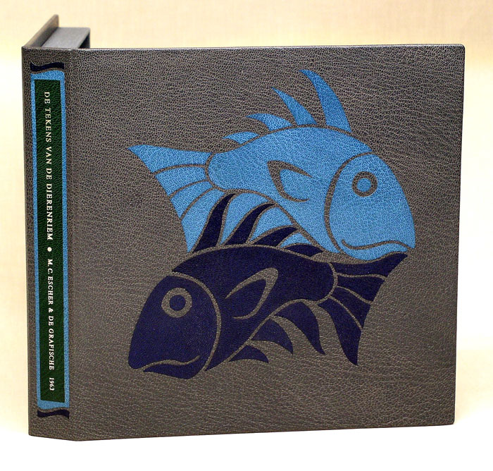 The design binding box for Escher's 'Fish and Waves' in full leather.