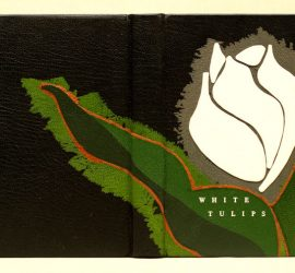 Design binding by Jack Fitterer for White Tulips, full leather with feathered onlays and raised onlays.