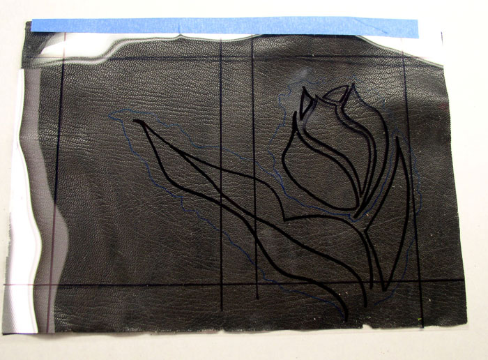 Mylar sketch hinged to base leather